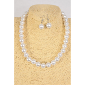 """Necklace 14 mm ABS Pearls White/DZ **White** 20"""" Long, Hang Tag & Opp Bag & UPC Code"""