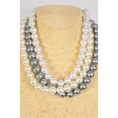 """Necklace 14 mm ABS Pearls White Cream Gray Mix/DZ **Cream** 20"""" Long, 4 White,4 Ivory,4 Gray Mix,Hang Tag & Opp Bag & UPC Code"""