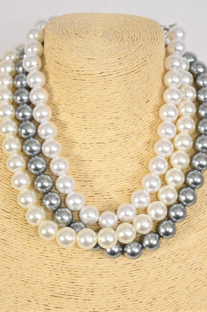 "Necklace 14 mm ABS Pearls White Cream Gray Mix/DZ **Cream** 20"" Long, 4 White,4 Cream,4 Gray Mix,Hang Tag & Opp Bag & UPC Code"