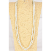 "Necklace Sets 8 mm Glass Pearls 32 inch White/DZ **White** Size-32""  Hang Tag & Opp Bag & UPC Code"