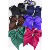 "Hair Bow Extra Jumbo Long Tail Cheer Type Bow Elastic Dark Multi Grosgrain Bow-tie/DZ **Dark Multi** Elastic,Size-6.5""x 6"" Wide,2 Of each Color Asst,Clip Strip & UPC Code"