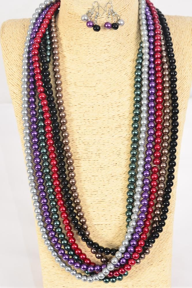 "Necklace Sets 8 mm Glass Pearls 32 inch Dark Multi/DZ **Dark Multi** Size-32"",2 of each Color Asst,Hang Tag & Opp Bag & UPC Code"