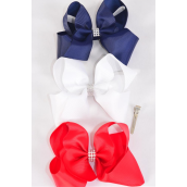 "Hair Bow Extra Jumbo Center Clear Stones Red White Navy Mix Grosgrain Bowtie/DZ **Red White Navy Mix** Alligator Clip,Size-6""x 5"" Wide,4 of each Color Asst,Alligator Clip,Clip Strip & UPC Code"
