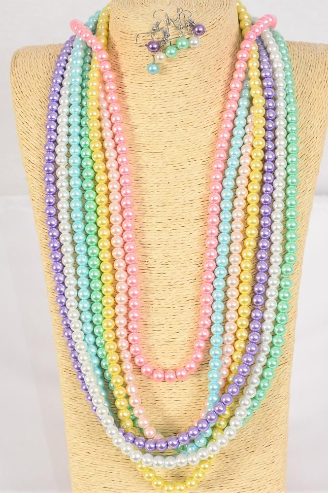 "Necklace Sets 8 mm Glass Pearls 32 inch Pastel/DZ **Pastel** Size-32"" ,2 of each Color Asst, Hang Tag & Opp Bag & UPC Code"