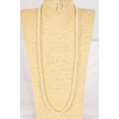 "Necklace Sets 8 mm Glass Pearls 32 inch Cream/DZ **Cream** Size-32""  Hang Tag & Opp Bag & UPC Code"