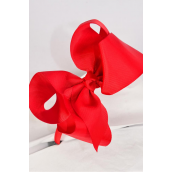"Headband Horseshoe Jumbo Grosgrain Bow-tie Red/DZ **Red** Bow Size-6""x 5"" Wide,Hang Tag & UPC Code,Clear Box"