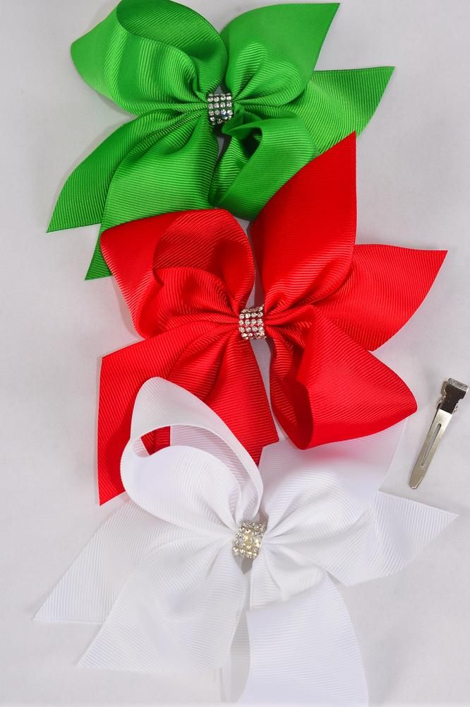 "Hair Bow Jumbo Large XMAS Bow Center Clear Stones Red White Green Mix Grosgrain Bowtie/DZ **Alligator Clip** Size-6""x 6"" Wide,4 of each Color Asst,Clip Strip & UPC Code."