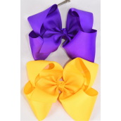 """Hair Bow Extra Jumbo Cheer Type Bow Purple & Yellow  Mix Grosgrain Bow-tie/DZ **Purple & yellow ** Alligator Clip,Size-8x 7"""" Wide,6 of each Color Asst,Clear Strip & UPC Code"""