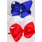 "Headband Horseshoe Grosgrain Bow-tie Red White Royal Blue Mix Grosgrain Bowtie/DZ Bow Size-6""x 5"" Wide,4 Red 4 White,4 Royal Blue,3 Color Asst,Hang Tag & UPC Code,Clear Box"
