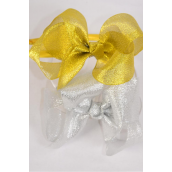 "Headband Horseshoe Jumbo Metallic G/S Mix Grosgrain Bow-tie/DZ Bow Size-6""x 5"" Wide,6 of each Color Asst,Hang Tag & UPC Code,Clear Box"