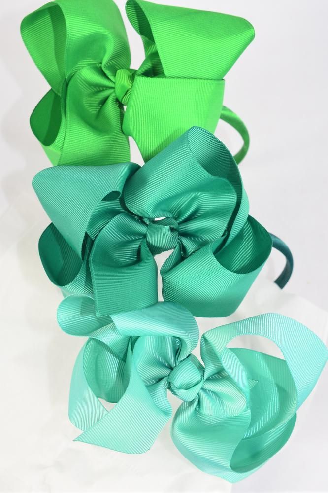 "Headband Horseshoe Jumbo Green Mix Grosgrain Bow-tie/DZ **Green Mix** Alligator Clip, Size-6""x 5"" Wide,4 of each Color Asst,Display Card & UPC Code,Clear Box"