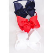 """Headband Horseshoe Grosgrain Bow-tie Red White Black Navy Mix/DZ Bow Size-6""""x 5"""" Wide,3 Black,3 White,3 Red,3 Navy,4 Color Asst,Hang Tag & UPC Code,Clear Box"""