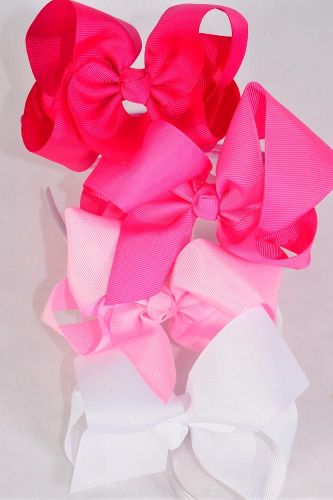 "Headband Horseshoe Jumbo Grosgrain Bow-tie Pink Mix/DZ **Pink Mix** Bow Size-6""x 5"" Wide,3 Baby Pink,3 Hot Pink,3 Fuchsia,3 White Mix, Hang Tag & UPC Code,Clear Box"