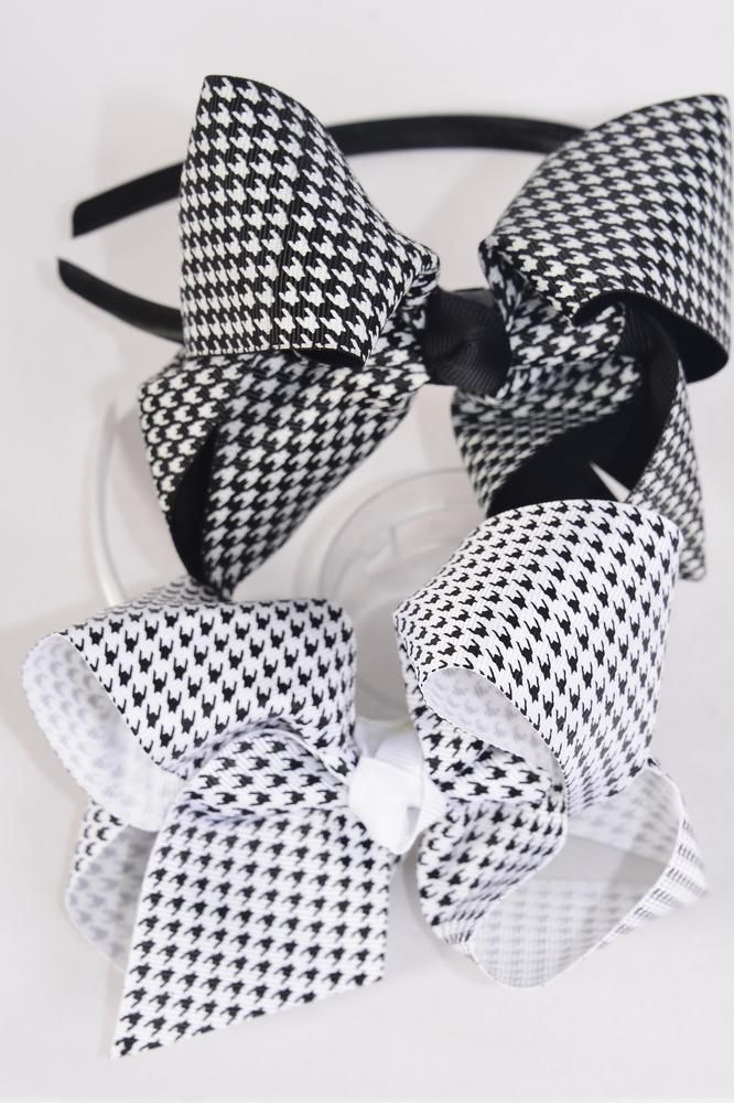 "Headband Horseshose Houndtooth Black & White Mix Grosgrain Bow-tie/DZ Bow Size-6""x 5"" Wide,6 Black & 6 White Mix,Clear Box"