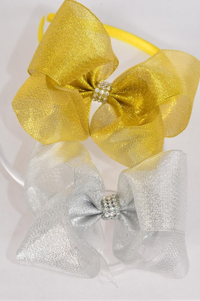 "Headband Horseshoe Jumbo Metallic G/S Mix Center Clear Stones Grosgrain Bow-tie/DZ Bow Size-6""x 5"" Wide,6 of each Color Asst,Hang Tag & UPC Code,Clear Box"