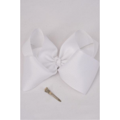 "Hair Bow Jumbo White Grosgrain Bowtie **White** Alligator Clip,Size-6""x 5"" Wide,Clip Strip & UPC Code"