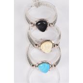 Bracelet Semiprecious Stone/DZ **Adjustable Length**  Extension Chain,4 Black,4 Ivory,4 Turquoise Asst,Hang Tag & OPP Bag & UPC Code