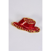 """Brooch Red Hat Enamel Rhinestones/pc Size-1.5""""x 0.75"""" Wide,Display Card & OPP Bag"""