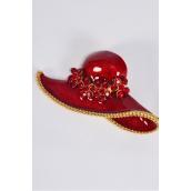 "Brooch Large Red Hat Enamel Rhinestones/PC size-3""x1.50"" Wide,Display Card & OPP Bag"