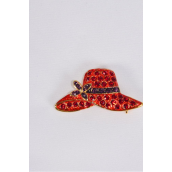 "Brooch- Red Hat W crystals/PC Size-1.5""x 0.75"" Wide,Display Card & OPP Bag"
