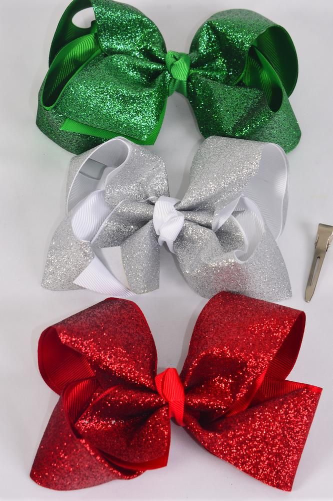 "Hair Bow Jumbo XMAS Double Layered Metallic Red White Green Mix Grosgrain Bowtie/DZ **Alligator Clip** Size-6""x 5"" Wide,4 Red,4 White,4 Black,3 Color Asst,Clip Strip & UPC Code."