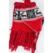 "Knitted Winter Scarf & Hat Set Fleece Inside Snowflake & Deer/Sets **Red** Scarf Size-64""x 8"" Wide,OPP bag & UPC Code"
