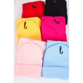 "Scarf & Hat Sets For Kids Heavy Polyester/Sets Scarf Size-45""x 6"" Wide,Hang tag & OPP Bag,Choose Colors"