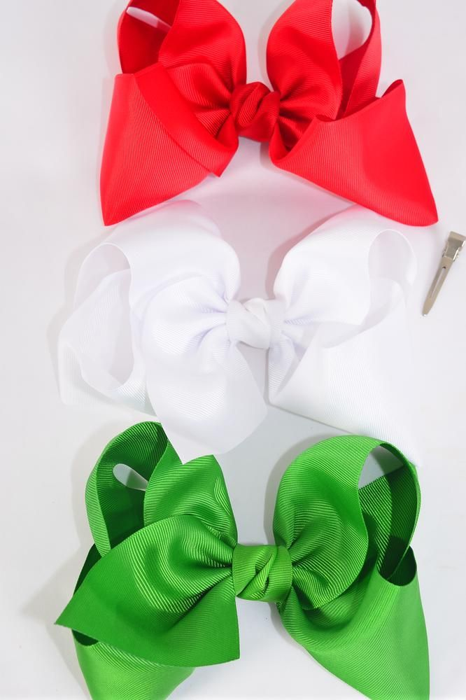 "Hair Bow Cheer Type Bow Red White Green Grosgrain Bow-tie/DZ **Red White Green Mix** Size-8""x 7"" Wide,Alligator Clip,4 of each Color Asst,Clip Strip & UPC Code"