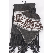 "Knitted Winter Scarf & Hat Set Fleece Inside Snowflake & Deer/Sets **Gray** Scarf Size-64""x 8"" Wide,OPP Bag & UPC Code"