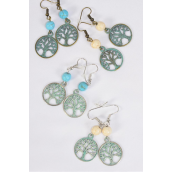 "Earrings Antique Patina Tree of life Semiprecious Stone/DZ **Fish Hook** Size-1.75""x 0.75"" Wide,3 of each color asst, Asst,Earring Card & OPP Bag & UPC Code -"