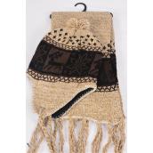 "Knitted Winter Scarf & Hat Set Fleece Inside Snowflake & Deer/Sets **Beige** Scarf Size-64""x 8"" Wide,OPP Bag & UPC Code"