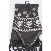 "Scarf & Hat Fleece Sets Snowflake & Ski Gray/Sets **Gray** Scarf Size-64""x 8"" Wide,OPP Bag & UPC Code"