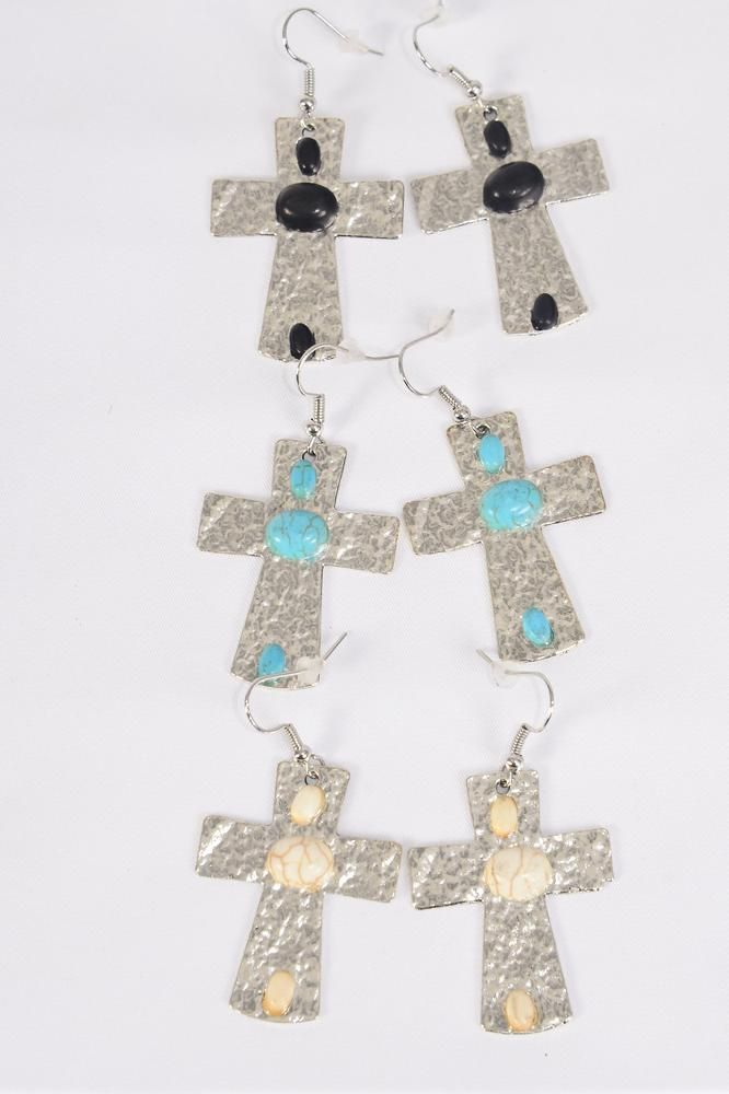 "Earrings Metal Antique Cross Semiprecious Stone/DZ match 70152 **Fish Hook** Size-1.5""x 1.25"" Wide,4 Black,4 Ivory,4 Turquoise Asst,Earring Card & OPP Bag & UPC Code -"