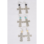 "Earrings Metal Antique Cross Semiprecious Stone/DZ **Fish Hook** Size-1.75""x 1.25"" Wide,4 Black,4 Ivory,4 Turquoise Asst,Earring Card & OPP Bag & UPC Code -"