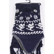 "Knitted Winter Scarf & Hat Set Fleece Inside Snowflake & Ski Navy/Sets **Navy** Scarf Size-64""x 8"" Wide,OPP Bag & UPC Code"