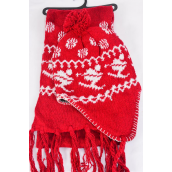 """Knitted Winter Scarf & Hat Set Fleece Inside Snowflake & Ski Red/Sets **Red** Scarf Size-64""""x 8"""" Wide,OPP Bag & UPC Code"""