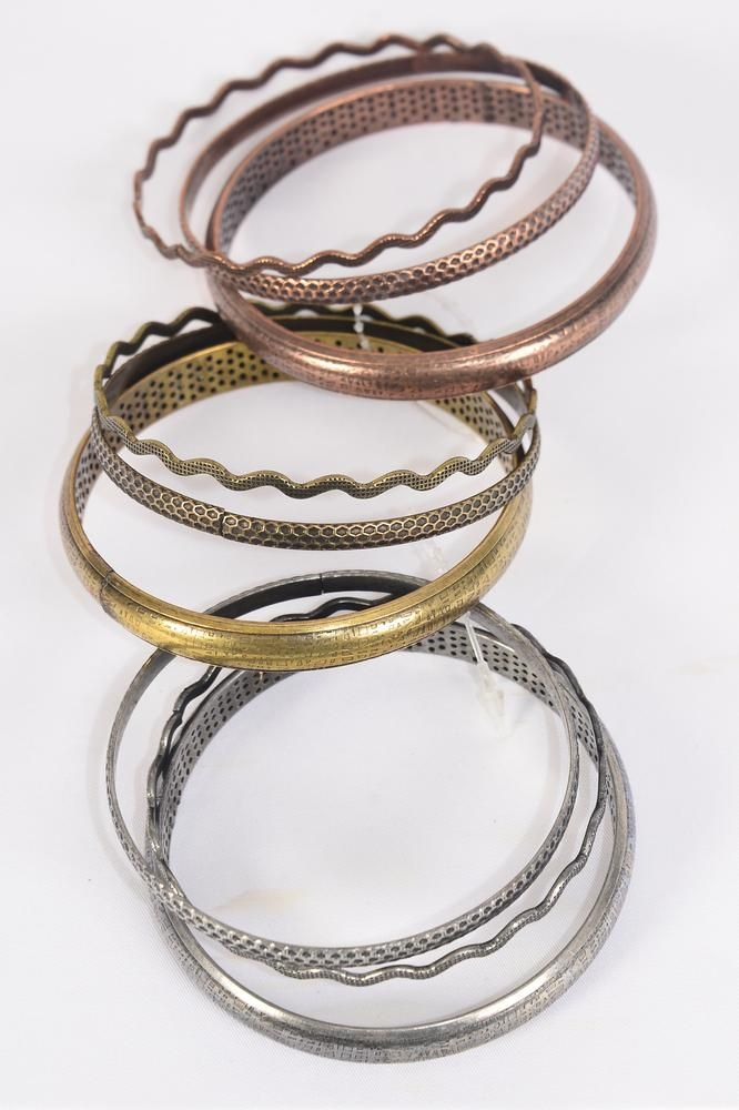 "Bangles Antique Mix Designs/DZ Size-2.75"" Dia Wide,4 Copper & 4 Brass & 4 Pewter Mix,Hang Tag & OPP Bag & UPC Code,3 pecs per card,12 card=Dozen -"