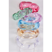 "Bangle Acrylic Transparent Woven Look/DZ Size-2.75""x 1""  Dia Wide,2 of each Color Asst,Hang Tag & Opp bag & UPC Code -"