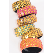 "Bangle Acrylic Holograph Multi Gold Diamond Pattern/DZ **Gold** Size- 2.75"" x 1.25"" Wide,2 of each color Asst,Hang Tag & OPP Bag & UPC Code"