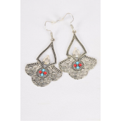"Earrings Metal Antique Silver Aztec Bohemian/DZ **Fish Hook** Size-1.75""x 1.25"" Wide,Earring Card & OPP Bag & UPC Code"