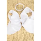 "Hair Bow Cheer Type Bow White Elastic Pony Grosgrain Bow-tie/DZ **White** Size-8""x 7"",Elastic Pony,Clip Strip & UPC Code"