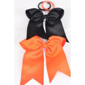 "Hair Bow Extra Jumbo Long Tail Elastic Cheer Type Bow Black & Orange Mix Grosgrain Bow-tie/DZ **Black & Orange Mix** Elastic,Size-6.5""x 6"" Wide,6 of each Color Asst,Clip Strip & UPC Code"