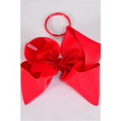 """Hair Bow Cheer Type Bow Red Elastic Pony Grosgrain Bow-tie/DZ **Red** Size-8""""x 7"""" Wide,Elastic Pony,Clip Strip & UPC Code"""