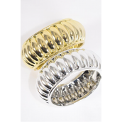 "Bangle Hinge Acrylic Ridged Gold & Silver Mix/DZ **Hinge** Size-2.75""x 1.25"" Dia Wide,6 Gold & 6 Silver Mix,Hang Tag & OPP Bag & UPC Code -"