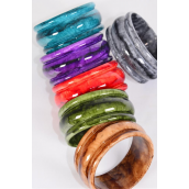 "Bangle Acrylic Marble Look Multi/DZ Size-2.75""x 1.25"" Dia Wide,2 of each Color Mix,Hang Tag & OPP Bag & UPC Code"