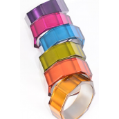 "Bangle Acrylic Cat-eye Octagon Mirror Look Multi/DZ **Multi** Size- 2.75"" x 1.25"" Wide,2 of each Color Asst,Hang Tag & Opp Bag & UPC Code"