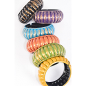 "Bangle Hinge Acrylic Ridged Multi/DZ **Hinge** Size-2.75""x 1.5"" Dia Wide,2 Blue,2 Purple,2 Fuchsia,2 Gold,2 Black,1 Green,1 Orange Color Asst,hang Tag & Opp bag & UPC Code"
