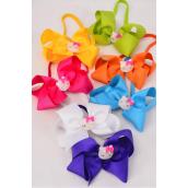 "Elastic Headband Jumbo Bow Cat Charm Citrus Grosgrain Bow tie/DZ **Citrus** Bow tie Size-6""x 5"",2 White,2 Fuchsia,2 Blue,2 Purple,2 Yellow,1 Lime,1 Orange Mix,Hang Tag & UPC Code,W Clear Box"