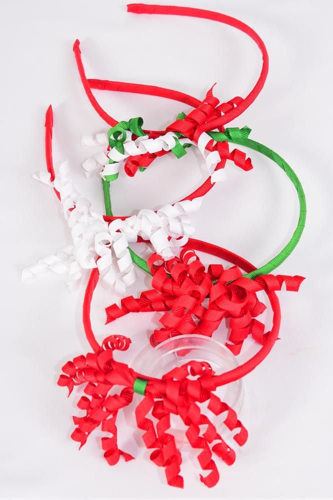 Headband Horseshoe Twirl XMAS Grosgrain Bow-tie/DZ 3 of each Color Asst,Hang tag & UPC Code,Clear Box