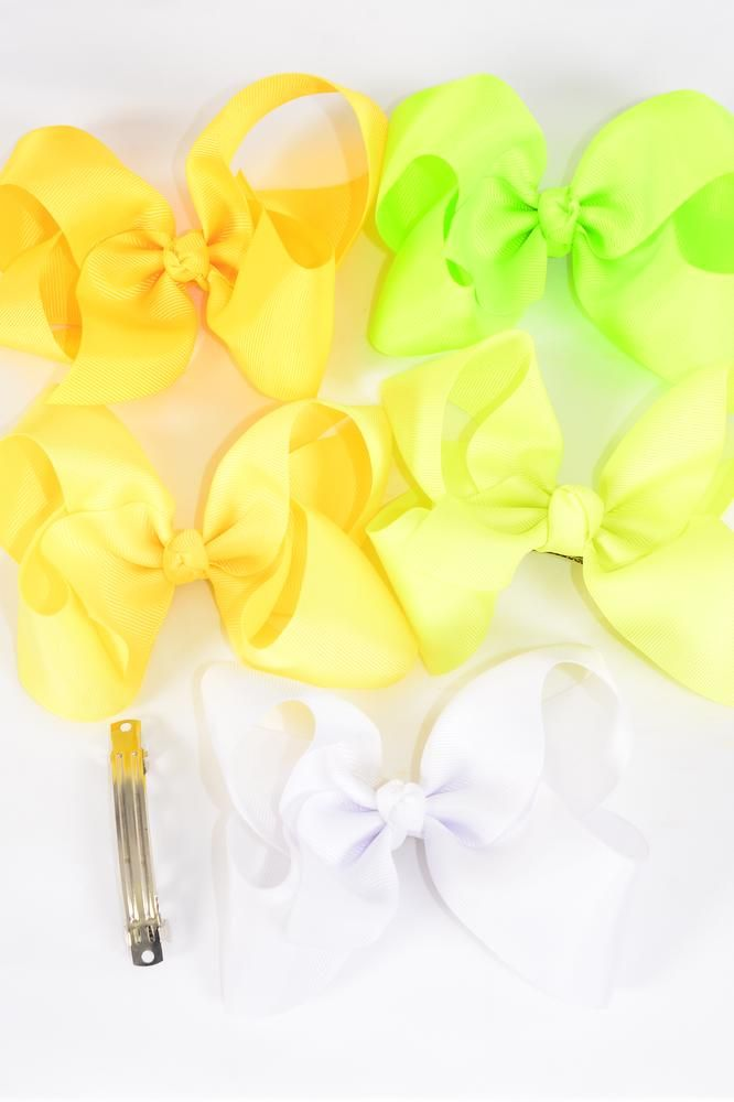 "Hair Bow Jumbo White Lime Yellow Mix 6""x 5"" French Clip Grosgrain Bow-tie/DZ **French Clip** Bow-6""x 5"" Wide,4 White,2 Neon Green,2 Neon Yellow,2 Baby Yellow,2 Yellow,5 Color Asst,Clip Strip & UPC Code"